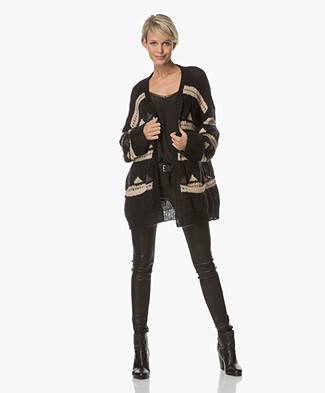 Closed Oversized Jacquard Cardigan - Black