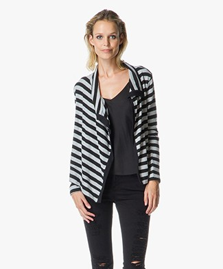 Velvet Violetta Cozy Stripped Open Cardigan