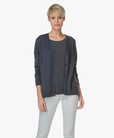 Closed - Closed Vest in Wol en Zijdemix - Dark Denim