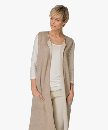 Repeat Cashmere - Repeat Lang Mouwloos Vest - Clay